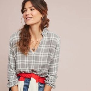 Cloth & Stone • Anthro Ruffle Flannel Blouse
